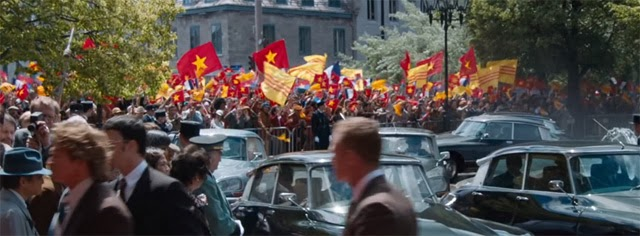 """X Men - Days of Future Past"", 2 types of Vietnamese flags waving together."